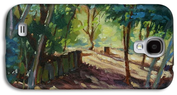 Nature Center Paintings Galaxy S4 Cases - A Pleasant Walk Galaxy S4 Case by Karen Wadsworth