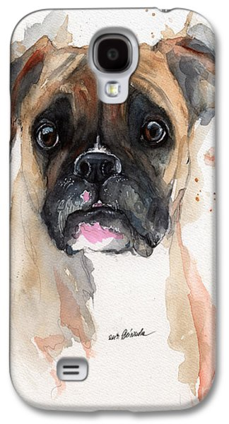 Boxer Galaxy S4 Cases - A Portrait Of A Boxer Dog Galaxy S4 Case by Angel  Tarantella