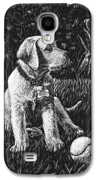 Puppy Drawings Galaxy S4 Cases - A Puppy With The Ball Galaxy S4 Case by Irina Sztukowski