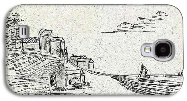 Printmaking Drawings Galaxy S4 Cases - A Quiet Knoll Along the Sea with Sailboats and Clouds Galaxy S4 Case by Cathy Peterson