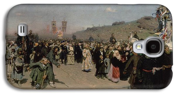 Crowds Galaxy S4 Cases - A Religious Procession In The Province Of Kursk, 1880-83 Oil On Canvas Galaxy S4 Case by Ilya Efimovich Repin