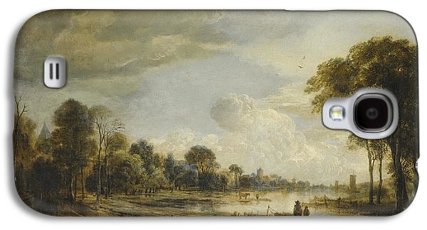 Field. Cloud Paintings Galaxy S4 Cases - A River Landscape with Figures and Cattle Galaxy S4 Case by Gianfranco Weiss