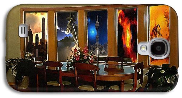 Interior Scene Mixed Media Galaxy S4 Cases - A Room with Scenic Views Galaxy S4 Case by Mario Carini