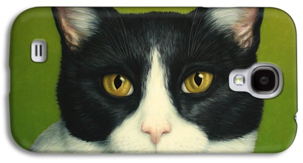 Green Galaxy S4 Cases - A Serious Cat Galaxy S4 Case by James W Johnson