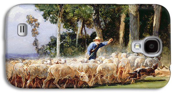 Dog Running. Galaxy S4 Cases - A Shepherd With A Flock Of Sheep Galaxy S4 Case by Charles Emile Jacques