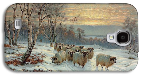 Setting Sun Galaxy S4 Cases - A shepherd with his flock in a winter landscape Galaxy S4 Case by Wright Baker