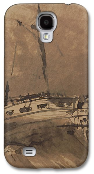 Abstract Seascape Drawings Galaxy S4 Cases - A Ship in Choppy Seas Galaxy S4 Case by Victor Hugo