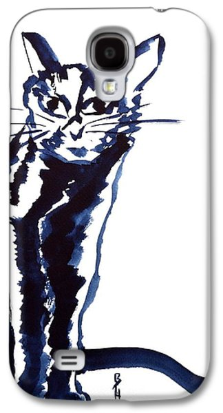 Spirit Cat Essence Paintings Galaxy S4 Cases - A Sketchy Cat Galaxy S4 Case by Beverley Harper Tinsley