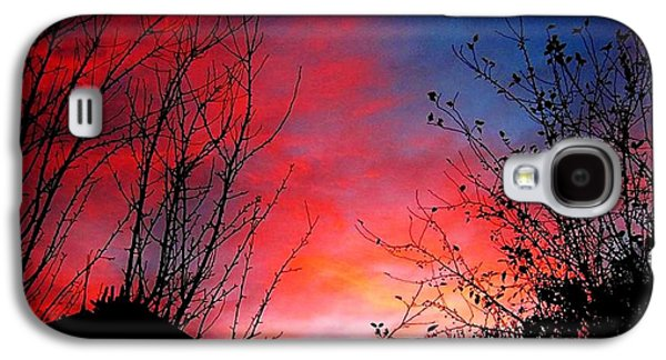 Autumn Landscape Pyrography Galaxy S4 Cases - A sky made by...fire.. Galaxy S4 Case by Cristina Mihailescu
