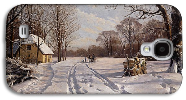 Snowy Day Paintings Galaxy S4 Cases - A Sleigh Ride through a Winter Landscape Galaxy S4 Case by Peder Monsted