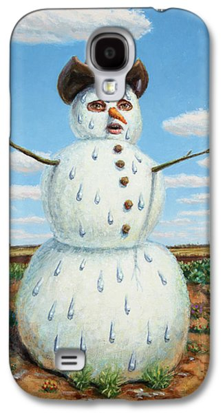 Cold Paintings Galaxy S4 Cases - A Snowman in Texas Galaxy S4 Case by James W Johnson