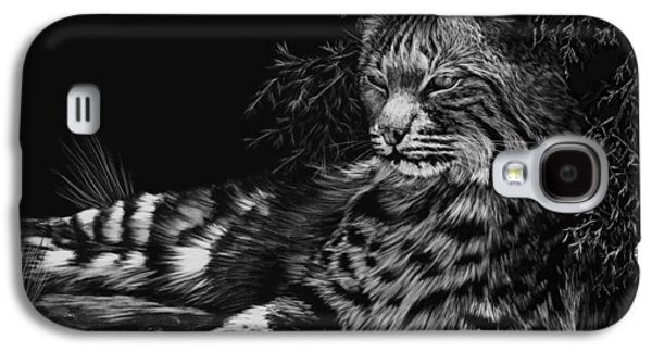 Bobcats Drawings Galaxy S4 Cases - A Spot of Shade Galaxy S4 Case by Heather Ward