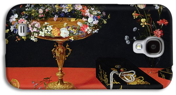 Gold Earrings Galaxy S4 Cases - A Still Life Of A Tazza With Flowers Oil On Panel Galaxy S4 Case by Jan the Younger Brueghel