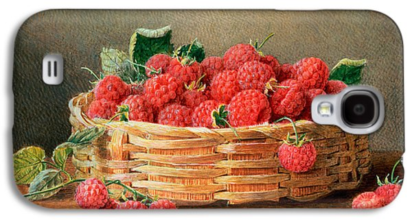 A Still Life Of Raspberries In A Wicker Basket  Galaxy S4 Case by William B Hough