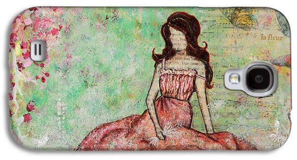 Folk Art Mixed Media Galaxy S4 Cases - A Still Morning Folk Art Mixed Media Painting Galaxy S4 Case by Janelle Nichol