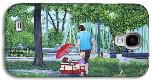 Park Scene Paintings Galaxy S4 Cases - A Stroll in the Park Galaxy S4 Case by Reb Frost