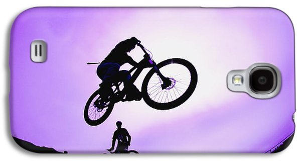 Observer Photographs Galaxy S4 Cases - A Stunt Cyclist Silhouette Galaxy S4 Case by Corey Hochachka