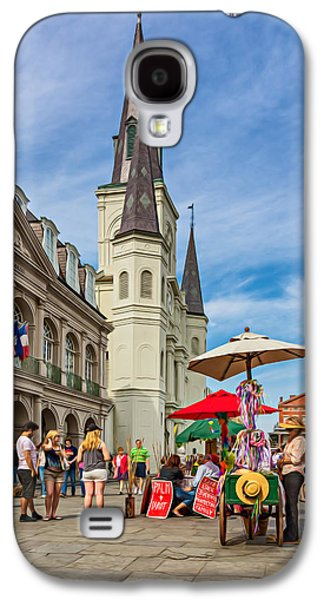 Lucky Dogs Galaxy S4 Cases - A Sunny Afternoon in Jackson Square oil Galaxy S4 Case by Steve Harrington