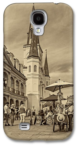 Lucky Dogs Galaxy S4 Cases - A Sunny Afternoon in Jackson Square sepia Galaxy S4 Case by Steve Harrington