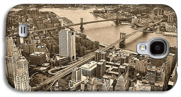 Twin Towers Nyc Galaxy S4 Cases - A Tale of Two Bridges 2 Galaxy S4 Case by Joann Vitali