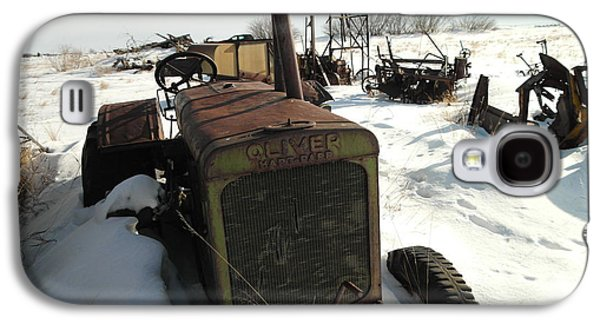 Old Relics Galaxy S4 Cases - A Tractor In The Snow Galaxy S4 Case by Jeff  Swan