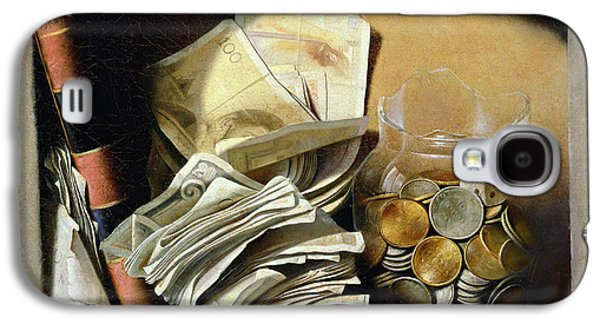 Saving Paintings Galaxy S4 Cases - A trompe loeil of paper money coins Galaxy S4 Case by French School