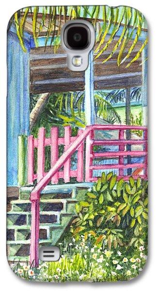 Garden Scene Drawings Galaxy S4 Cases - A Tropical House Porch Galaxy S4 Case by Carol Wisniewski