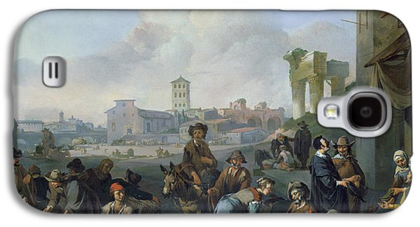 Columns Galaxy S4 Cases - A View In Rome, 1668 Oil On Canvas Galaxy S4 Case by Johannes Lingelbach