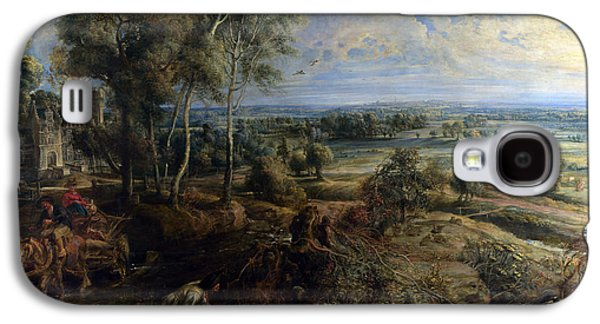 Horse And Cart Digital Art Galaxy S4 Cases - A View Of Het Steen In The Early Morning Galaxy S4 Case by Peter Paul Rubens