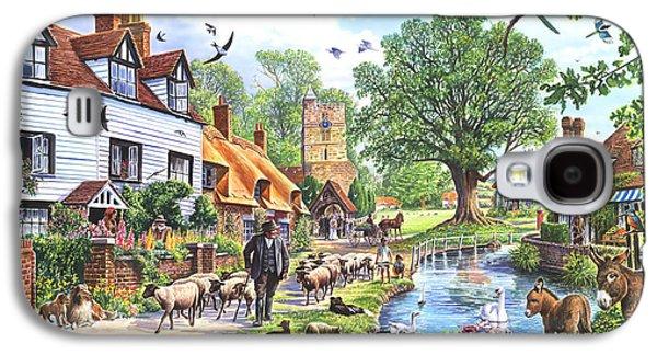 Donkey Digital Art Galaxy S4 Cases - A Village in Spring Galaxy S4 Case by Steve Crisp