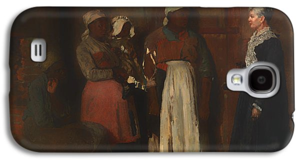 Slavery Paintings Galaxy S4 Cases - A Visit from the Old Mistress Galaxy S4 Case by Winslow Homer