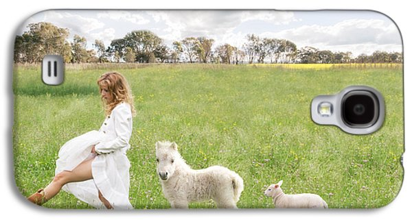 Sheep Digital Art Galaxy S4 Cases - A Walk in the Country Galaxy S4 Case by Linda Lees