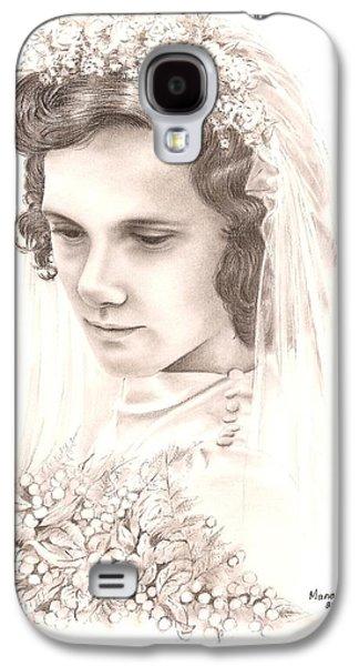Contemplative Drawings Galaxy S4 Cases - A war bride Galaxy S4 Case by Manon  Massari