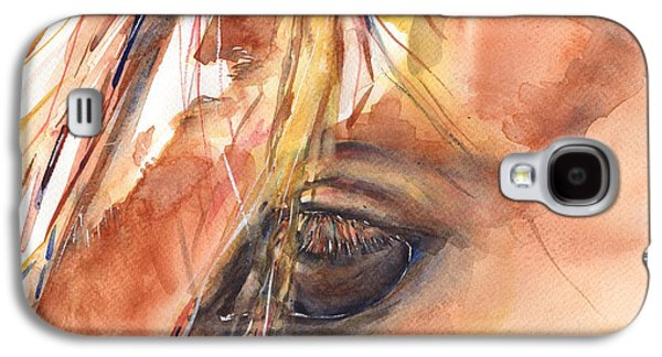 Chestnut Horse Galaxy S4 Cases - Horse Eye Painting A Wink of the Eye Galaxy S4 Case by Maria