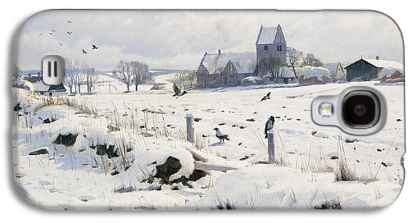 Group Of Birds Paintings Galaxy S4 Cases - A Winter Landscape Holmstrup Galaxy S4 Case by Peder Monsted
