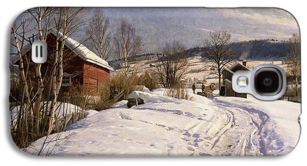 Snowy Day Paintings Galaxy S4 Cases - A Winter Landscape Lillehammer Galaxy S4 Case by Peder Monsted