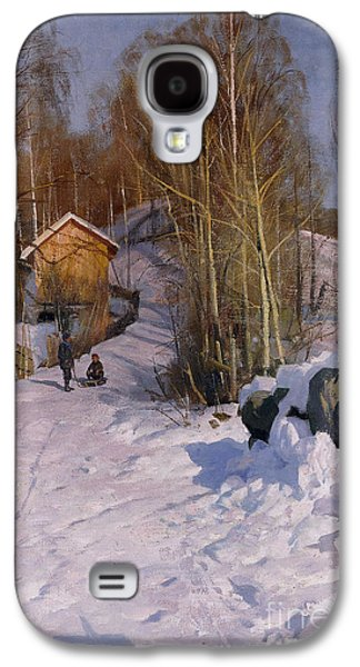 Snow-covered Landscape Galaxy S4 Cases - A Winter Landscape with Children Sledging Galaxy S4 Case by Peder Monsted