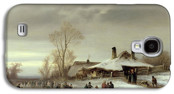 Ice-skating Galaxy S4 Cases - A Winter Landscape with Skaters Galaxy S4 Case by Anton Doll