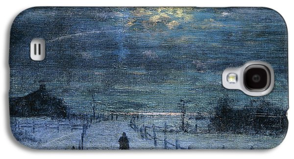 Snowy Day Paintings Galaxy S4 Cases - A Wintry Walk Galaxy S4 Case by Lowell Birge Harrison