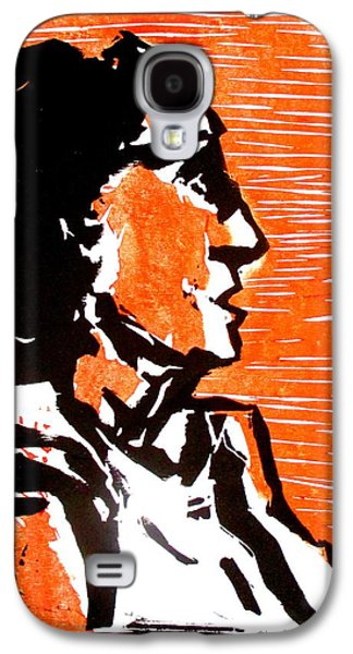 Linocut Paintings Galaxy S4 Cases - A woman I Galaxy S4 Case by Maria Mimi