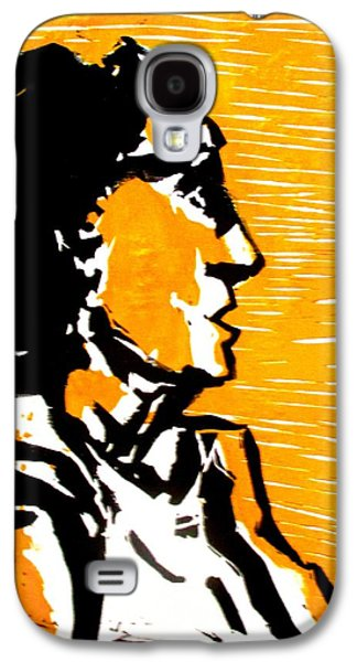 Linocut Paintings Galaxy S4 Cases - A woman II Galaxy S4 Case by Maria Mimi