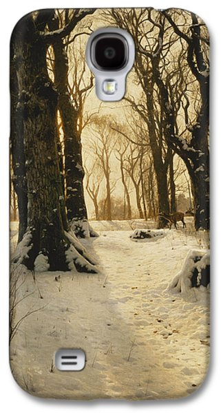 Snow-covered Landscape Galaxy S4 Cases - A Wooded Winter Landscape with Deer Galaxy S4 Case by Peder Monsted