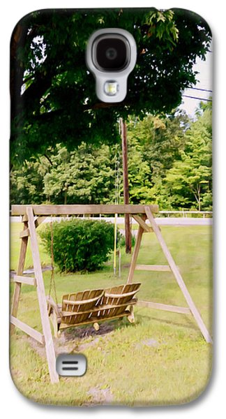 Empty Chairs Paintings Galaxy S4 Cases - A wooden swing under the tree Galaxy S4 Case by Lanjee Chee