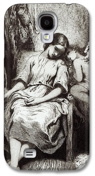 Woman In A Dress Galaxy S4 Cases - A Young Woman Dozing with an Angel Galaxy S4 Case by Charles Nodier