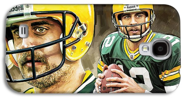 Quarterback Galaxy S4 Cases - Aaron Rodgers Green Bay Packers Quarterback Artwork Galaxy S4 Case by Sheraz A