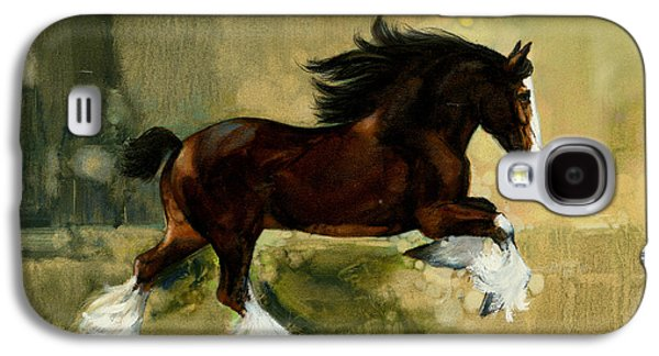 Freedom Paintings Galaxy S4 Cases - Clydesdale Stallion Galaxy S4 Case by Don  Langeneckert