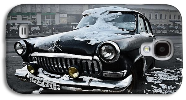 Abstract Digital Paintings Galaxy S4 Cases - Abandoned Old Car in Still Street. H a Galaxy S4 Case by Gert J Rheeders