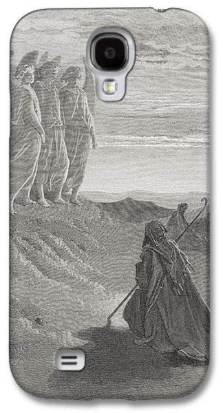 Religious Drawings Galaxy S4 Cases - Abraham and the Three Angels Galaxy S4 Case by Gustave Dore