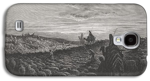 Religious Drawings Galaxy S4 Cases - Abraham Journeying Into the Land of Canaan Galaxy S4 Case by Gustave Dore