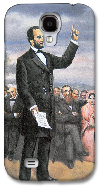 Historical Figures Galaxy S4 Cases - Abraham lincoln Delivering the Gettysburg Address Galaxy S4 Case by American School